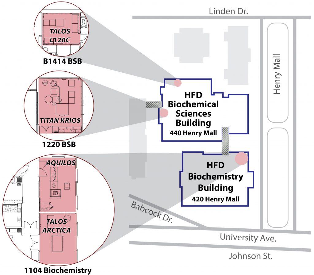Map of location of cryo-EM facility equipment.
